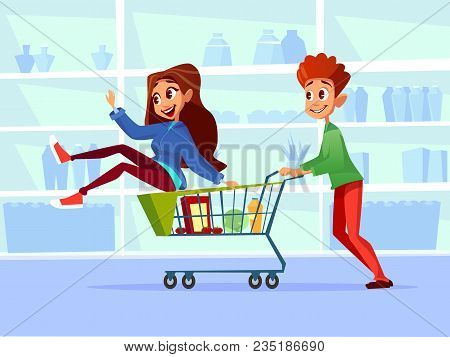 Couple Riding Supermarket Shopping Cart Vector Illustration. Flat Cartoon Design Of Young Man And Wo