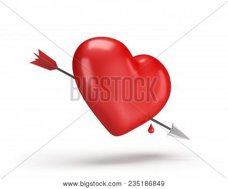Heart Pierced With An Arrow And A Drop Of Blood. 3d Image. White Background.