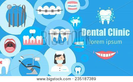 Dental Clinic Horizontal Banner With Flat Symbols Of Dental Instruments Braces Dentist Chair Orthodo
