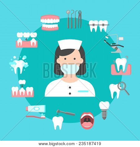 Poster With Icons Of Dental Clinic Services. Circle Of Information Icons With Dental Clinic Services