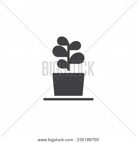 Plant In Flower Pot Vector Icon. Filled Flat Sign For Mobile Concept And Web Design. Growing Plant S