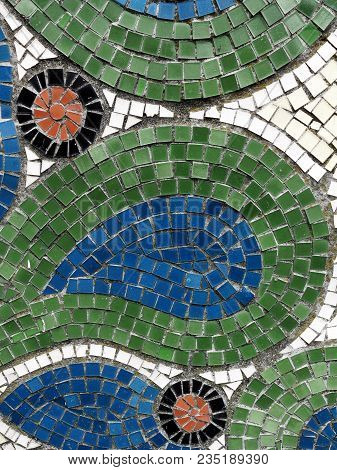 Detail Of Beautiful Old Collapsing Abstract Ceramic Mosaic Adorned Building. Venetian Mosaic As Deco