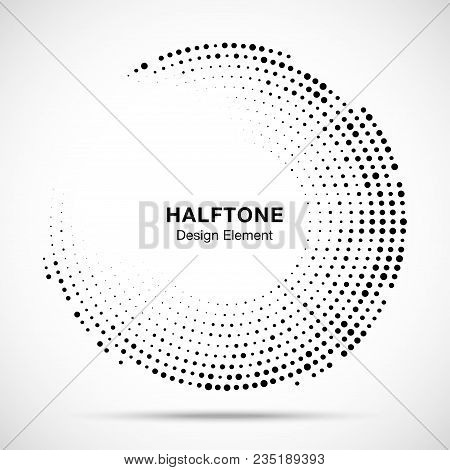 Halftone Circle Frame With Black Abstract Random Dots, Logo Emblem Design Element For Technology, Me