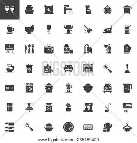 Homeware Vector Icons Set, Modern Solid Symbol Collection, Filled Style Pictogram Pack. Signs, Logo