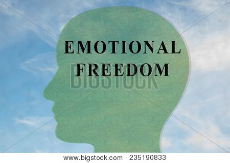 Render illustration of EMOTIONAL FREEDOM title on head silhouette, with cloudy sky as a background. poster