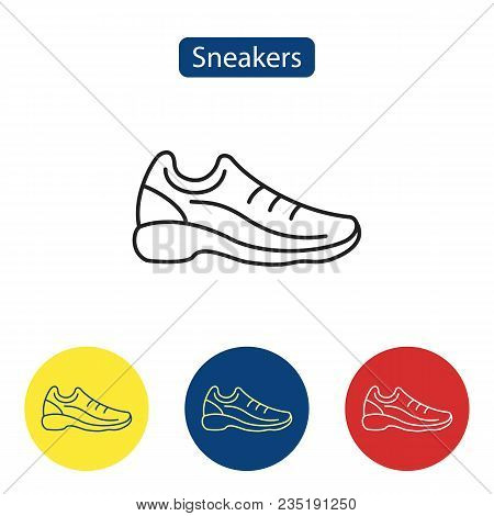 Sneakers Flat Fit Icons. Fitness Sneakers For Training Running Shoe Vector Illustration. Sport Shoes