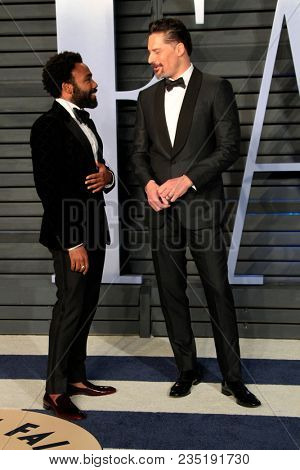 LOS ANGELES - MAR 4:  Donald Glover, Joe Manganiello at the 24th Vanity Fair Oscar After-Party at the Wallis Annenberg Center for the Performing Arts on March 4, 2018 in Beverly Hills, CA