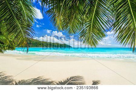 Seychelles, Tropical Beach Anse Lazio At Praslin Island, Most Beautiful Beach In The World. Paradise