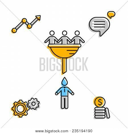 Set Of Icons Representing Finance And Communicating Process During Work Flow.