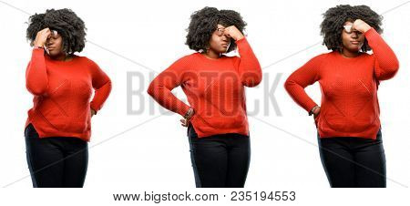 Young beautiful african plus size model with sleepy expression, being overworked and tired, rubbes nose because of weariness isolated over white background. Collection composition 3 figures collage