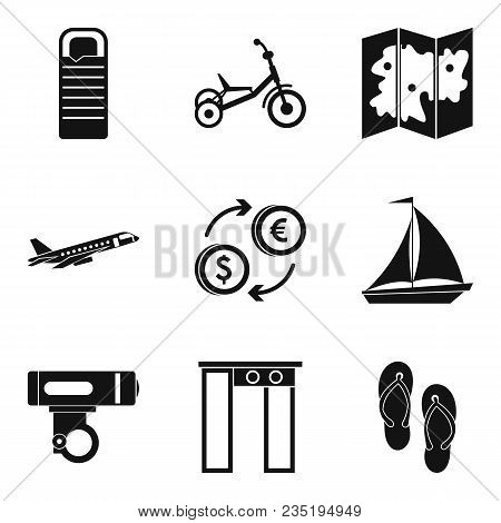 Outing Icons Set. Simple Set Of 9 Outing Vector Icons For Web Isolated On White Background