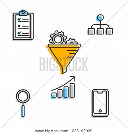 Minimalist Flat Icons In Set Showing Modern Business Work Flow With Technology And Goals Setting.