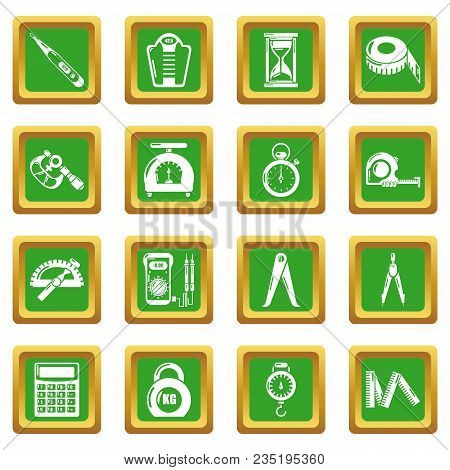 Measure Precision Icons Set Vector Green Square Isolated On White Background