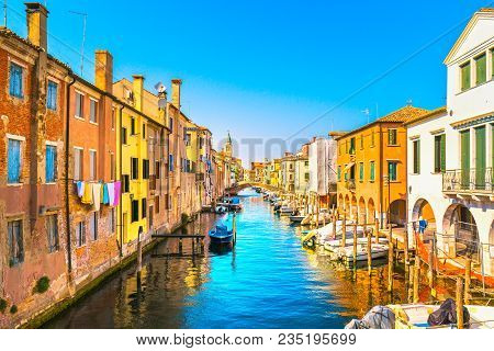 Chioggia Town In Venetian Lagoon, Water Canal And Church. Veneto, Italy, Europe