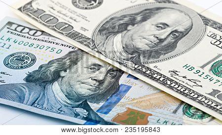 Closeup New And Old American Money Hundred Dollar Bill. Benjamin Franklin Portrait, Us 100 Dollar Ba