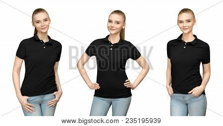 Set Variations Promo Pose Girl In Blank Black Polo Shirt Mockup Design For Print And Concept Templat