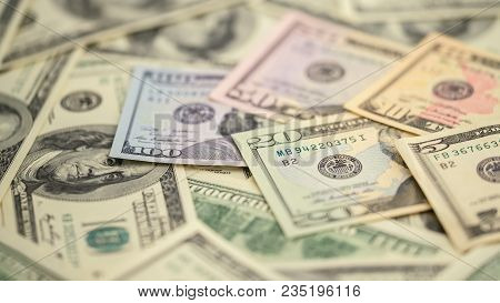 Background Closeup Series American Money  5,10, 20, 50, New 100 Dollar Bill. Macro Pile Us Banknote.