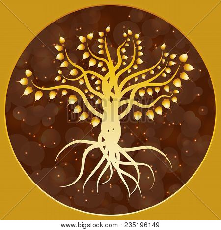 Buddhist Holiday - Vesak. The Concept Of The Event. Golden Bodhi Tree On A Brown Blur Background In