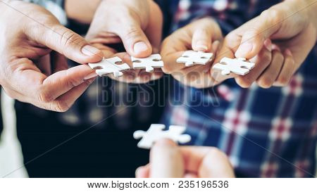 Close Up Hand Of Group Business Partnership People Puting Together A Jigsaw Puzzle  , Business Teamw