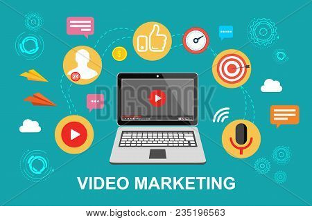 Video Marketing. Video, Webinar, Online Conference. Stream The Video Vector Illustration