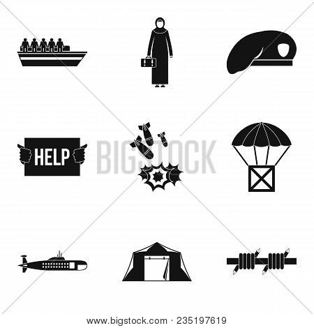 Collateral Damage Icons Set. Simple Set Of 9 Collateral Damage Vector Icons For Web Isolated On Whit