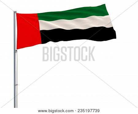 Isolate Flag Of United Arab Emirates On A Flagpole Fluttering In The Wind On A Blue Background, 3d R