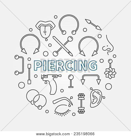 Piercing Circular Concept Vector Illustration In Thin Line Style Made With Cute Piercings Icons