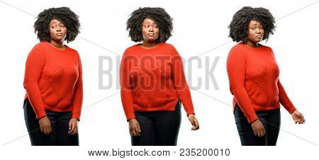 Young beautiful african plus size model having skeptical and dissatisfied look expressing Distrust, skepticism and doubt isolated over white background. Collection composition 3 figures collage