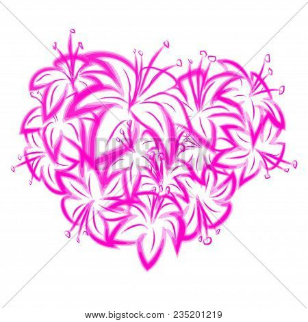 Pink Lily In The Shape Of Heart. Element For Romantic Greeting Cards Or Invitaions.