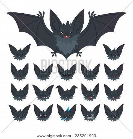 Hallowen Character Emoticon Set. Vector Illustration Of Cute Flying Grey Bat Vampire And It S Bat-ea