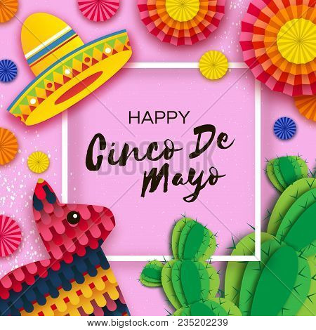 Happy cinco de mayo vector photo free trial bigstock happy cinco de mayo greeting card colorful paper fan funny pinata and cactus in m4hsunfo