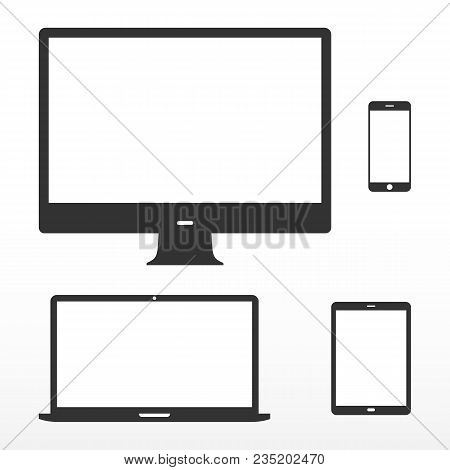 Device Set. Icons Electronic Device With White Screen. Computer Monitor, Laptop, Tablet, Mobile Phon