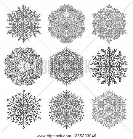 Set Of Vector Snowflakes. Black And White Winter Ornaments. Snowflakes Collection. Snowflakes For Ba