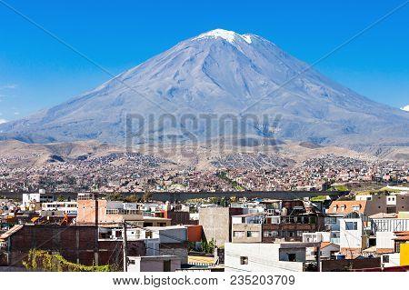 Misti Volcano From Yanahuara Viewpoint In Arequipa, Peru