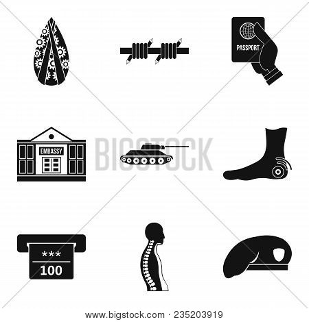 Military Assistance Icons Set. Simple Set Of 9 Military Assistance Vector Icons For Web Isolated On