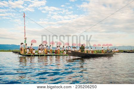 Inle-lake, Myanmar - Oct 06 2014: The Festival Of Phaung Daw Oo Temple At Inle Lake In October 2014.