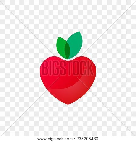 Heart Logo Apple Fruit Icon For Healthy Food And Diet Or Vegetarian Nutrition Supplement And Vitamin