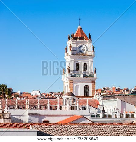Sucre Cathedral is located on Plaza 25 de Mayo square in Sucre, Bolivia poster
