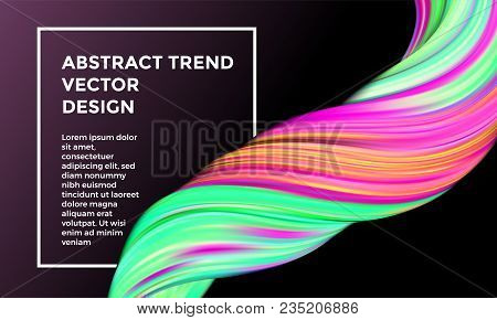 Vector Digital Painting Abstract Background. Creative Vivid 3d Flow Paint Wave. Trendy Pink Liquid B