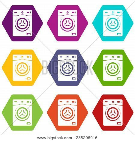 Washer Icons 9 Set Coloful Isolated On White For Web