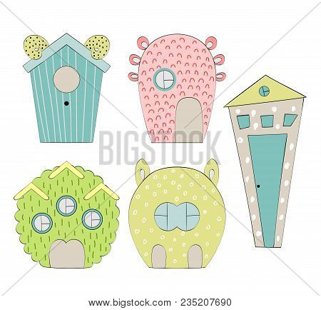 Set Of Houses For Monsters On White Background