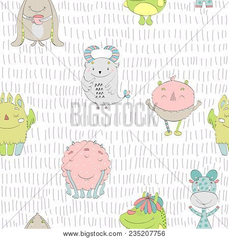 Vector Seamless Pattern With Cartoon Funny Monsters.