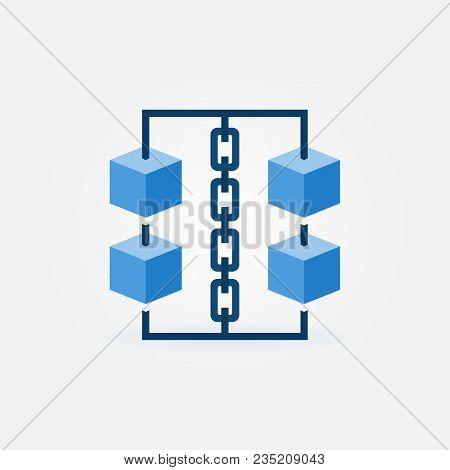 Block Chain Vector Icon. Blue Cubes With Chain Symbol. Blockchain Technology Design Element