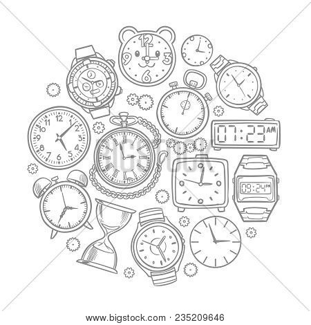 Hand Drawn Clock, Wrist Watch Doodles Time Vector Concept. Illustration Of Time Clock And Wrist Watc