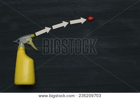 Hand Sprayer Bottle With Insect Repellent And A Bug Abstract Background With Copy Space. Top View, F