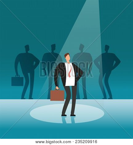 Unique Businessman Standing In Searchlight. Stand Out By Employer, Career And Recruitment Vector Con
