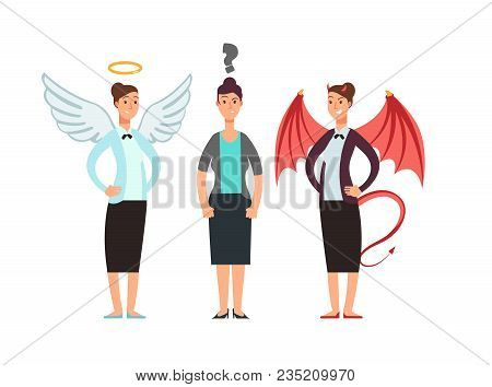 Confused Woman With Angel And Devil Over Shoulders. Business Ethics Vector Concept. Angel And Demon,