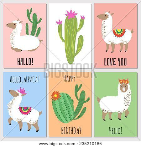 Cute mexican alpaca kids vector vector photo bigstock cute mexican alpaca kids vector invitation cards alpaca animal and mexican lama illustration stopboris Image collections