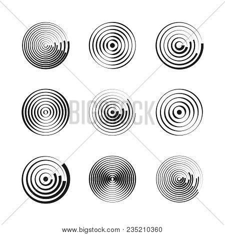 Concentric Circles Abstract Geometric Vector Patterns. Circular Shapes And Round Waves. Rings With R