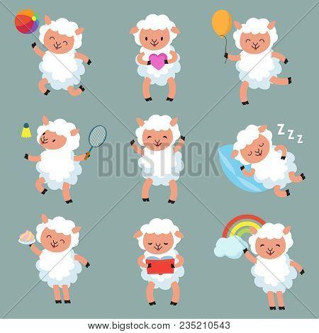 Cute baby sheep. Funny cartoon woolly lamb vector characters. Illustration of cartoon character white sheep poster